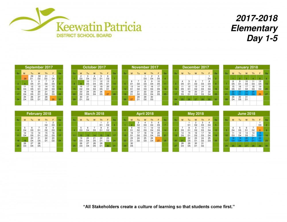 2017 and 2018 KPDSB Day 1 to 5 Calendar